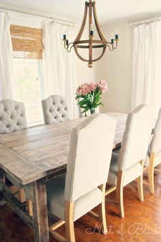 @Erin B B B B B B B B B Wicker Emporium  Jasper Dining Chairs paired with a rustic farmhouse table - Nest of Bliss #wickeremporium. everything but the chandelier