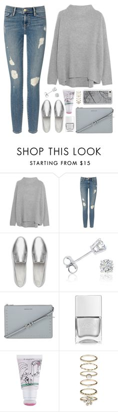 """""""OOTD - Gray Sweater"""" by by-jwp ❤ liked on Polyvore featuring Vince, Frame Denim, FitFlop, Amanda Rose Collection, MICHAEL Michael Kors, Nails Inc., too cool for school and Accessorize"""