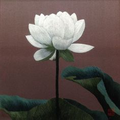 Japanese Embroidery Silk King Silk Art Handmade Embroidery – White Lotus on Blue . Chinese Embroidery, Sashiko Embroidery, Hand Embroidery Flowers, Embroidery Transfers, Silk Ribbon Embroidery, Hand Embroidery Patterns, Embroidery Art, Cross Stitch Embroidery, Lily Painting