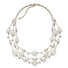 Goldtone & White 3-Row Illusion Necklace - jcpenney