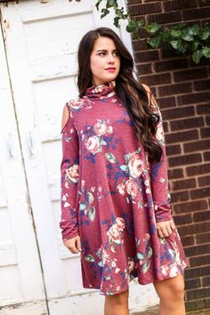 Burgundy Floral Dress, $43.50, Free Shipping | fall fashion, fall style, women's fall fashion, women, boutique, fall outfit, babydoll, comfy, comfortable, casual, basic, sweater, cut out, peep shoulder, turtleneck, long, soft, red, pink, rose, maroon