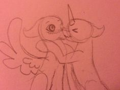A random pegasus and a random unicorn kiss...? (Crappy doodle thing)