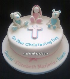 Triplets Christening Cake So cute! Christening Cake Girls, Christening Dresses, Christian Cakes, Cake Cookies, Cupcakes, Name Day, Girl Cakes, Triplets, Baby Shower Cakes