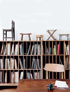 Wood Magazine Library and Vintage Stools in Home of Furniture Designer Gu Qi, Vinyl Storage, Record Storage, Record Shelf, Storage Shelving, Art Storage, Book Storage, Paper Storage, Furniture Showroom, Furniture Design