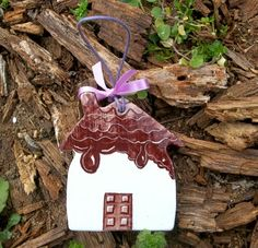 Chocolata hanging ceramic little house by IoannasVeryCHic on Etsy, $15.00