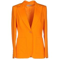 Emilio Pucci Blazer ($335) ❤ liked on Polyvore featuring outerwear, jackets, blazers, emilio pucci, orange, collar jacket, long sleeve jacket, single breasted jacket and emilio pucci jacket