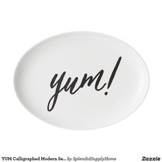 YUM Calligraphed Modern Serving Platter Porcelain Serving Platter