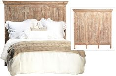 Crafted from solid reclaimed pine and hand rubbed white wash finish. Headboard only. 64x65. MSRP $899. Flood Recovery $449