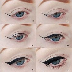 Amazing winged cat-eye on blue eyes. I found this makeup at Beauty.com.