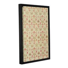 """Bungalow Rose Daisy Wallpaper Design, 1862 Framed Graphic Art on Wrapped Canvas Size: 36"""" H x 24"""" W x 2"""" D"""