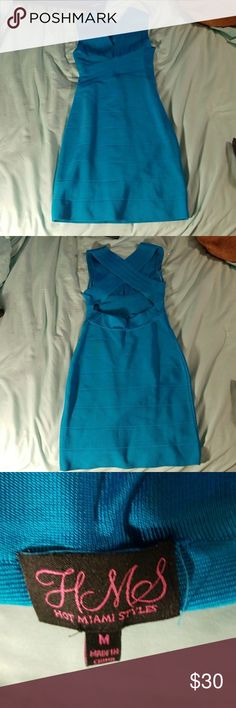 NWOT blue bandage dress from Hot Miami Styles NWOT gorgeous criss-cross back blue bandage dress from Hot Miami Styles! hot miami styles Dresses Mini