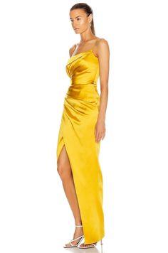 Yellow Gown, Drape Gowns, Pleated Fabric, Prom Dresses, Formal Dresses, Elegant Dresses, Silk Dress, Fashion Dresses, Shoulder