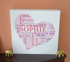 Teenage Happy birthday canvas gift. For the girl who is impossible to buy for! What better gift to give than a totally unique and personal piece of birthday art?    This birthday canvas gift is ideal for even the fussiest teenage girl.  Pink heart gift full of words for a teenager.