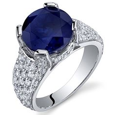 525 Carats Created Sapphire Cluster Ring Sterling Silver Rhodium Nickel Finish Size 8 *** Find out more about the great product at the image link.