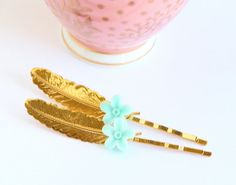 Feather Hair Pin Gold Feather Bobby Pins Raw by JacarandaDesigns, $18.00