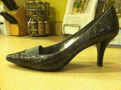 Selling this on eBay, starting at $0.99 - Anne Klein iFlex Winkins Pumps Heels Pewter Gray Snake Size 8 - For Sale