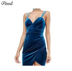 2016 Winter Velvet Blue Bud Spaghetti Strap V Neck Backless Women Sexy Midi Dresses Party Dresses
