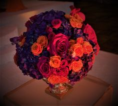 Gorgeous Floral Ball accented the bridal aisle and dinner tables. Small Centerpieces, Dinner Table, Tables, Bridal, Floral, Dinning Table, Florals, Mesas, Dinning Table Set