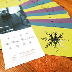 Invitations to a winter-themed birthday party for a four year old.