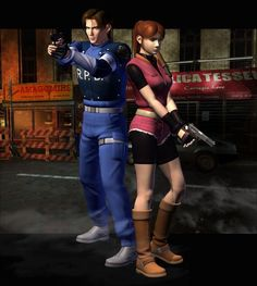 Leon and Claire from Resident Evil 2.  My first zombie game I ever played.  Scared me to death playing the game with my brother at night but it was great.   Looking back I realize how silly I was but hey, you are only young once.  :)