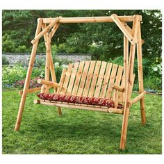 Premium Porch Swing Patio Swings Outdoor Wooden 2 Person Bench Furniture with Frame in Modern Log All Weather Style Log Chairs, Patio Chairs, Pergola Patio, Pergola Swing, Wooden Chairs, Wooden Pergola, Pergola Plans, Pergola Ideas, Backyard Ideas