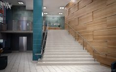 Architectural rendering of the BCBS reception area looking towards the main reception desk.