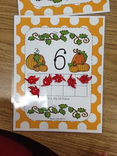 Use any fall manipulatives for this fall ten frame.