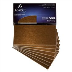 Aspect Long Grain 3 in. x 6 in. Metal Decorative Wall Tile in Bronze (8-Pack) - The Home Depot