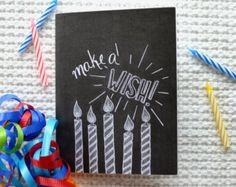 Chalkboard Birthday Card Chalkboard Art Chalk by Sugarbirdprints