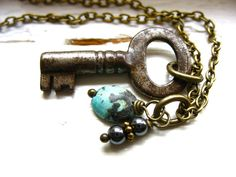 Hey, I found this really awesome Etsy listing at https://www.etsy.com/listing/124320223/turquoise-skeleton-key-necklace