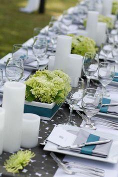 Blue Green Centerpieces by Passion Roots Wedding Tables, Wedding Events, Wedding Ideas, Green Centerpieces, Honolulu Oahu, Bouquet, Tablescapes, Flower Arrangements, Blue Green