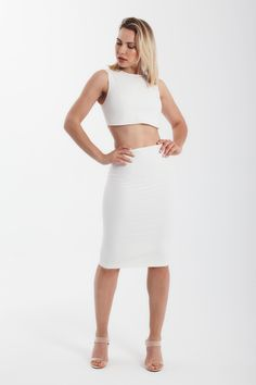 super cut out jersey bodycon midi dress in white Crop Top Dress, Cropped Top, Tight Dresses, Dress Party, White Dress, Two Piece Skirt Set, Nude, Culture, Crop Tops