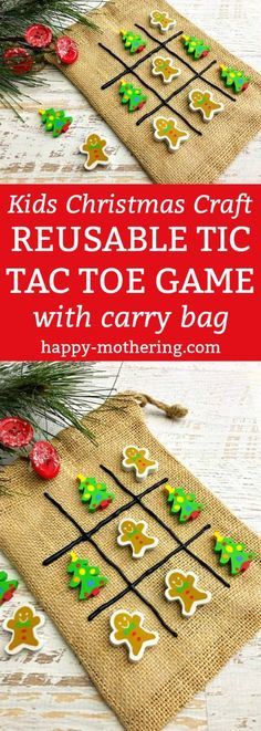 Are you looking for a fun and useful Kids Christmas Craft? This Reusable Tic Tac Toe Game with Carry Bag is easy to make and your kids will play with it over and over! - Kids Christmas Craft: Reusable Tic Tac Toe Game with Carry Bag Childrens Christmas Crafts, Christmas Craft Show, Christmas Crafts For Kids To Make, Homemade Christmas Gifts, Christmas Bags, Christmas Makes To Sell, Kids Christmas Activities, Christmas Crafts To Sell Bazaars, Christmas Bazaar Ideas