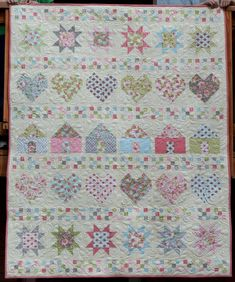 """""""All In A Row"""" quilt - tutorial by  Melissa from Happy Quilting, via   Moda Bake Shop"""
