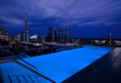 Heated Infinity Pool with Overlook Downtown Toronto in Thompson Toronto Hotel