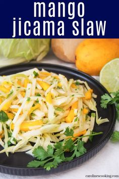 This mango jicama slaw is really quick and easy to make. It doesn't have many ingredients, but the fantastic fresh flavors are so tasty. Try it on top of tacos or as a side salad. Salad Recipes Gluten Free, Taco Salad Recipes, Healthy Salad Recipes, Amazing Recipes, Delicious Recipes, Real Food Recipes, Easy Summer Salads, Easy Salads, Ultimate Taco Salad Recipe