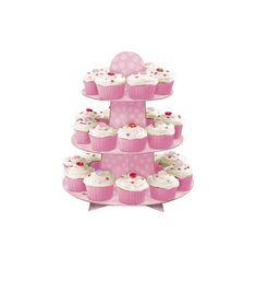 Support rose 24 cupcakes 3 étages  et un choix immense de décorations pas chères…