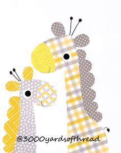 Two giraffes Nursery Artwork Print Baby Room Decoration Kids Room Wall Art Yellow and Gray Nursery Gifts Under 20 Baby Shower on Etsy, $14.00