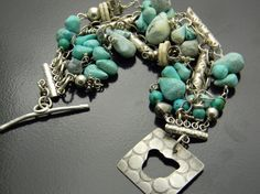 Turquoise and sterling Five strand Bracelet by isajul