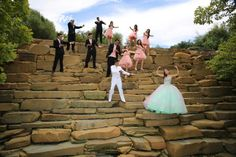Quinceanera pose with damas and chambelanes