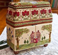Look at this wonderful embroidered sewing set. Imagine how many hours it took to complete the project. Cross Stitch Finishing, Cross Stitch Love, Cross Stitch Samplers, Counted Cross Stitch Patterns, Cross Stitch Designs, Cross Stitching, Cross Stitch Embroidery, Sewing Case, Sewing Box