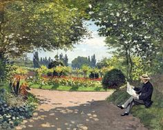 Claude Monet / Adolphe Monet reading in a garden of Le Coteau at Sainte-Adresse, 1867 French Impressionist Painters, Impressionist Paintings, Landscape Paintings, Landscape Art, Artist Monet, Portraits, Garden Painting, Classic Paintings, Classical Art