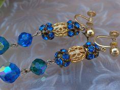 VINTAGE Vargas 14k Gold Filled Rhinestone Bead Ball Orb Dangle Earrings ART DECO #HallmarkedVargasVwithinaDiamond12014KGF #DangleVINTAGEBeadOrbDropDECOPromJewelry