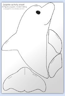 Dolphin Template Cut Out | olphin puppet activity sheet d olphin number & paint activity page