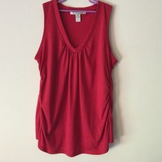 Dressy Tank Top Dressy, red, lightweight tank. Ruching at neckline and sides. Some stretch. American Rag cie Tops Tank Tops