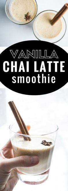 Vanilla Chai Latte Smoothie. This drink is earthy, spicy, creamy, and silky smooth! Vegan and GF.
