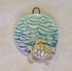 Sea Turtle in Aqua Cool Waters Ceramic Focal Pendant by SlinginMud, $11.50