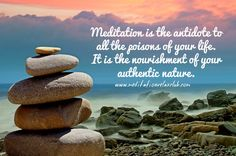 """""""Meditation is the antidote to all the poisons of your life. It is the nourishment of your authentic nature.""""  www.meditationrelaxclub.com #quotes #meditationquotes #positivequotes"""