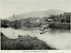 Travessia de balsa sobre o rio Itapocu em foto de 1907     (Brigitte Brandenburg/Antigamente em Jaraguá do Sul/Divulgação)
