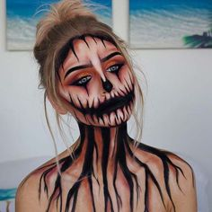 Scary Pumpkin Makeup for Halloween 2018 Slash Halloween Makeup Idea Next, we have a scary Halloween makeup idea that features slash wounds. The face has slashes and there is one on the top of the wrist too Looks Halloween, Halloween 2018, Cool Halloween Makeup, Halloween Inspo, Halloween Makeup Tutorials, Halloween Face Paint Scary, Halloween Costumes Diy Scary, Scary Face Paint, Facepaint Halloween